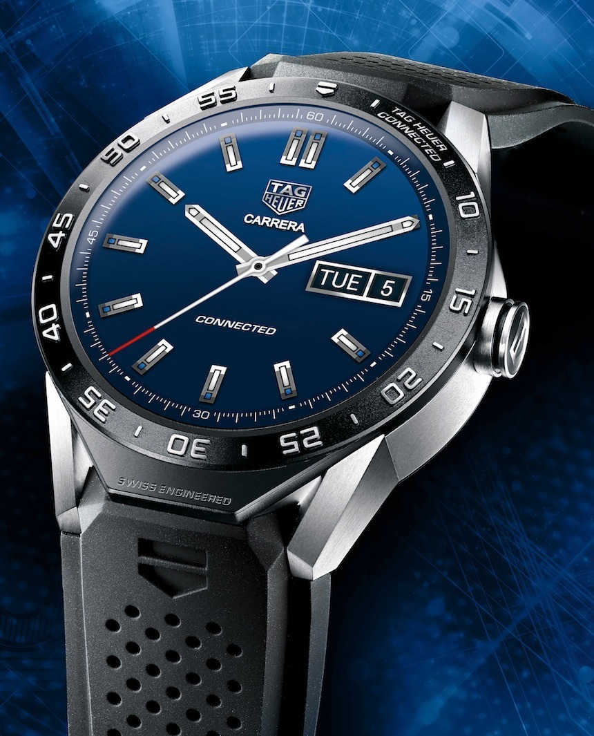 TAG Heuer Carrera Connected Watch simple dial blue - Perpetuelle